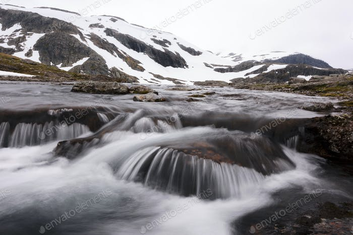 Thumbnail for Typical norwegian landscape with snowy mountains