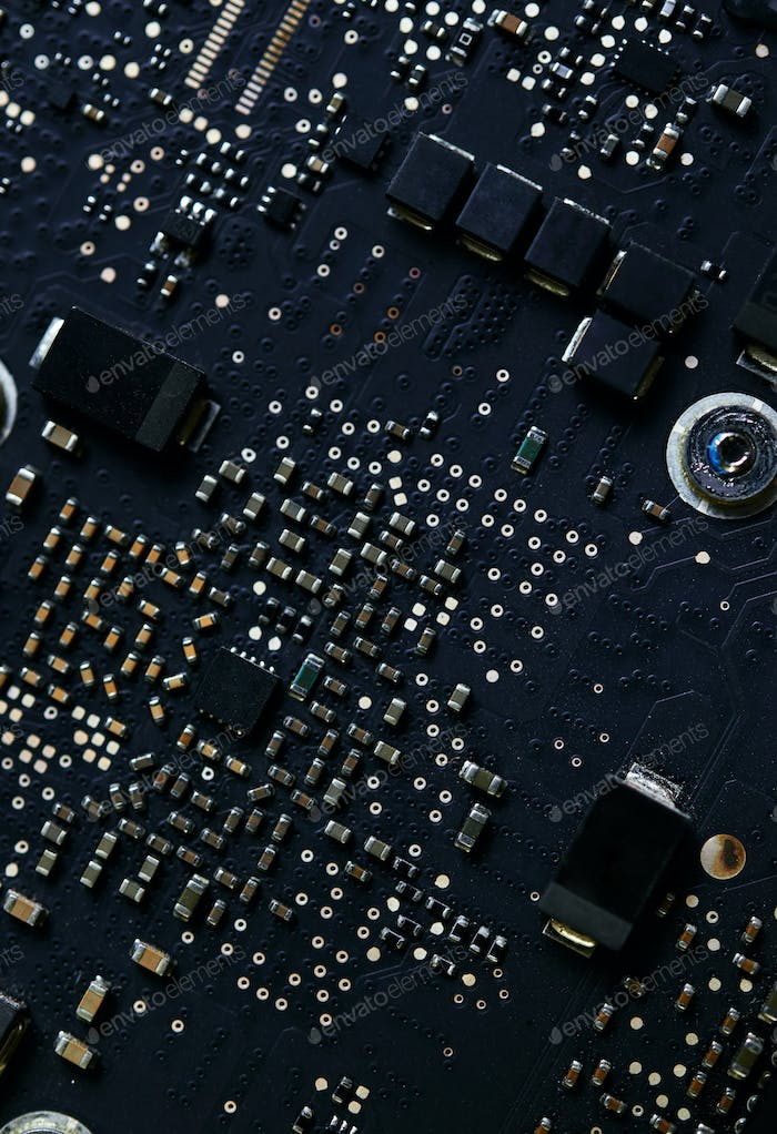 Close-up view of the electronic circuit