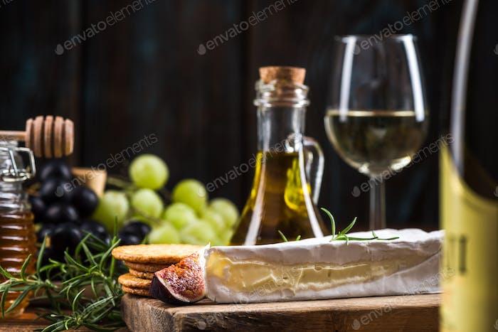 Slice of camembert cheese