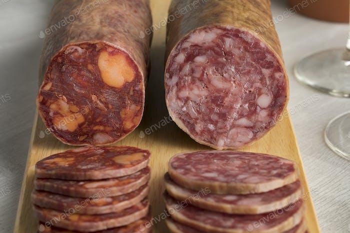 Traditional piece of Spanish Salchichon sausage and chorizo