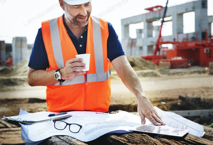 Single Working Man Outdoors Construction Concept