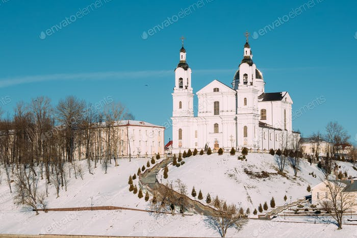 Vitebsk, Belarus. Famous Landmark Is Assumption Cathedral Church
