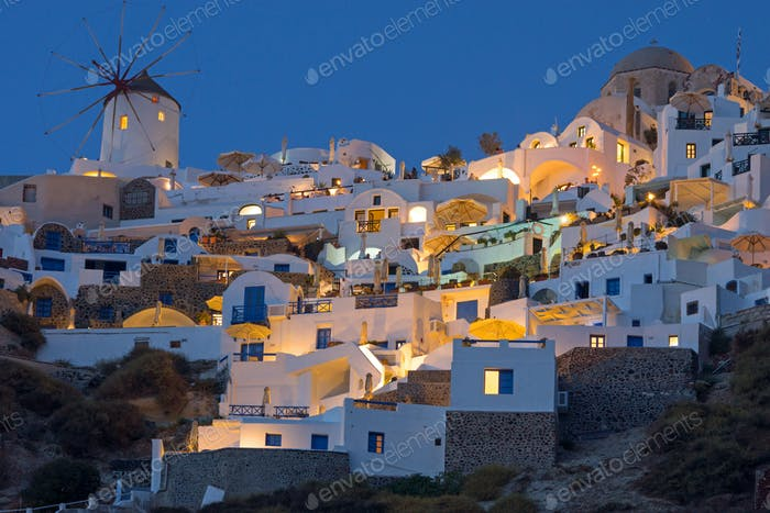 Part of Oia at night