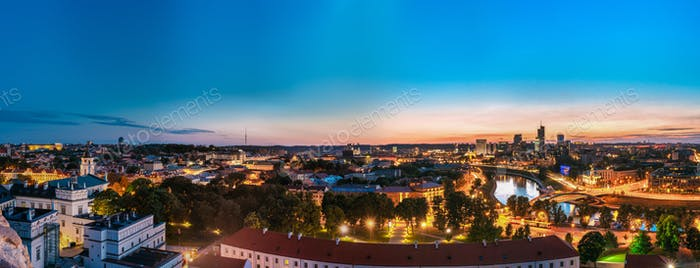 Vilnius, Lithuania. Sunset Cityscape. Palace Of The Grand Dukes
