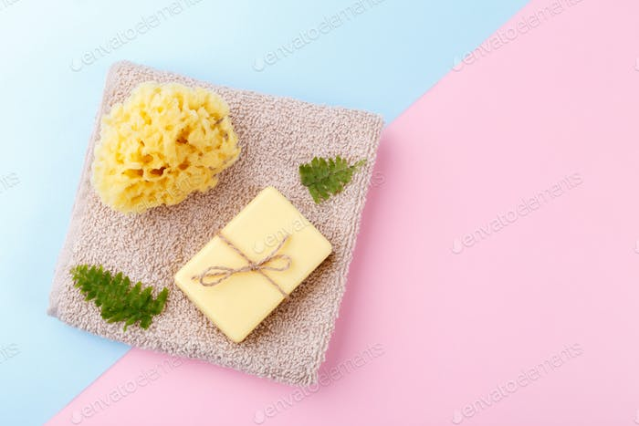 Handmade soap and sea sponge