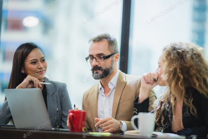 Group of Business People Diverse Brainstorm Meeting Concept, Working in the Office Concept