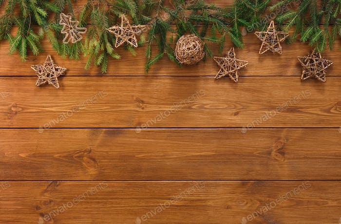 Weihnachtsdekoration, Sterne und Girlande Rahmen Hintergrund