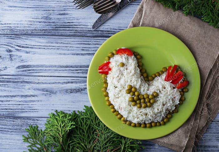 Festive salad in shape of chicken, symbol of 2017 year