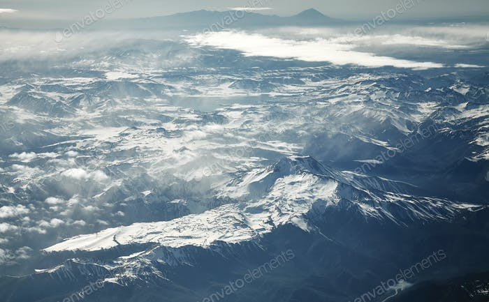 Aerial picture of the Andes mountain range, Chile