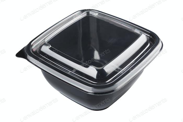 Black plastic disposable container