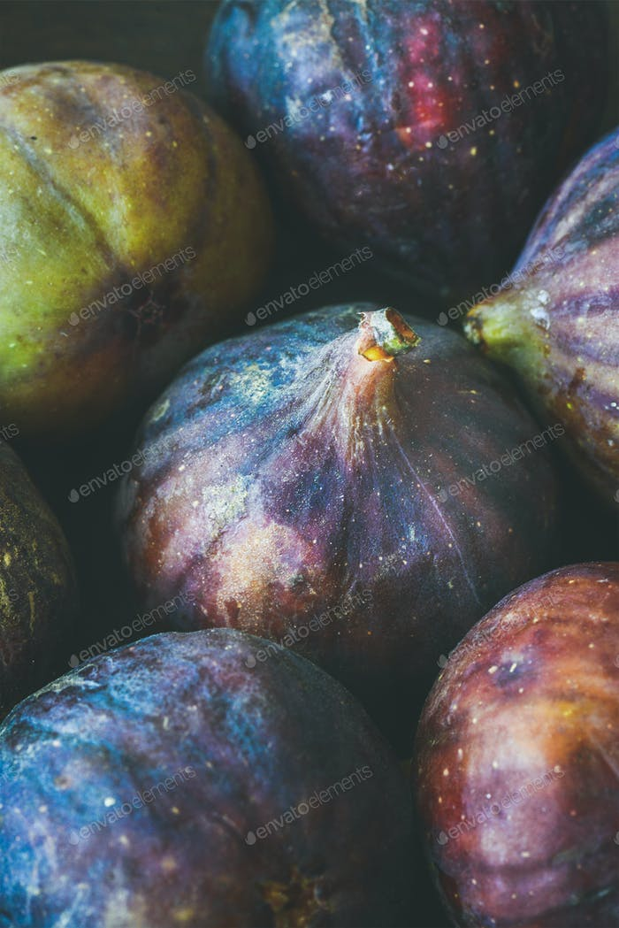 Close-up of fresh ripe seasonal purple figs, vertical composition