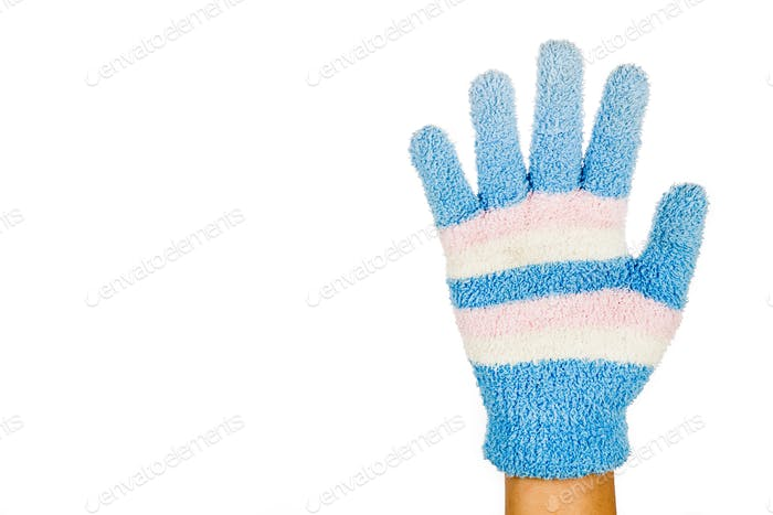 Hand in blue pink winter glove gesture number five against white