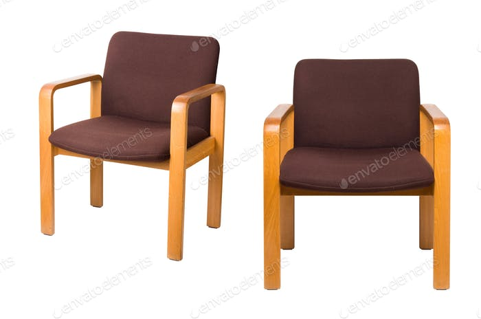 old chairs on a white background