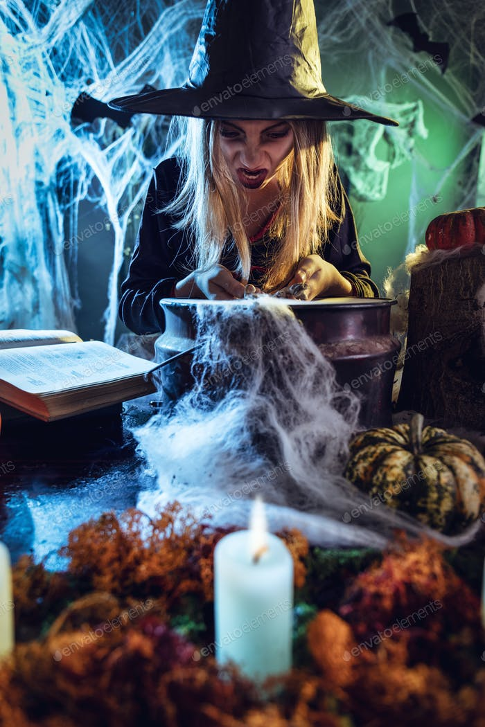 Young Witch Is Cooking With Magic Bones