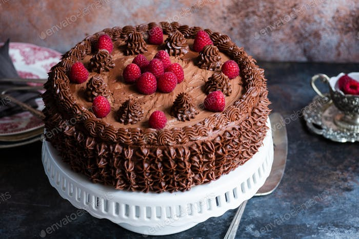 Whole chocolate cake with chocolate frosting
