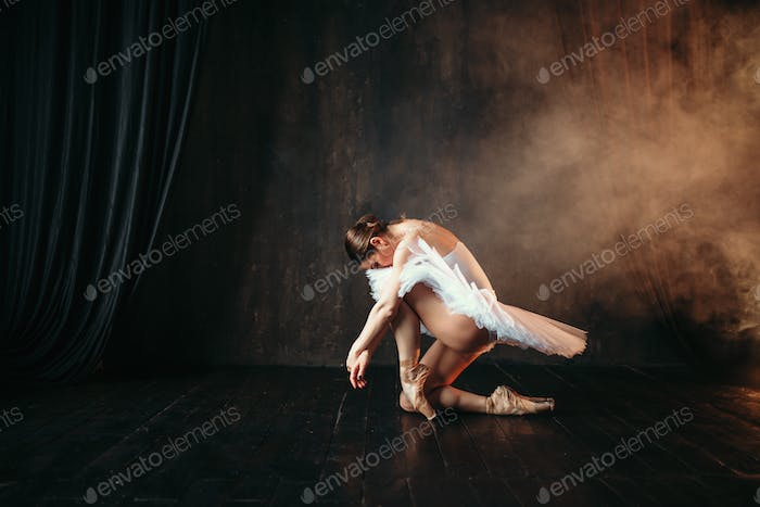 Grace of ballerina in motion on theatrical stage