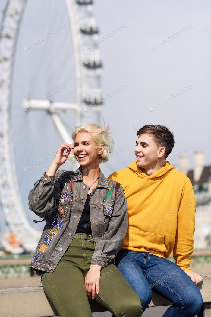 Thumbnail for Happy couple by westminster bridge, River Thames, London. UK.