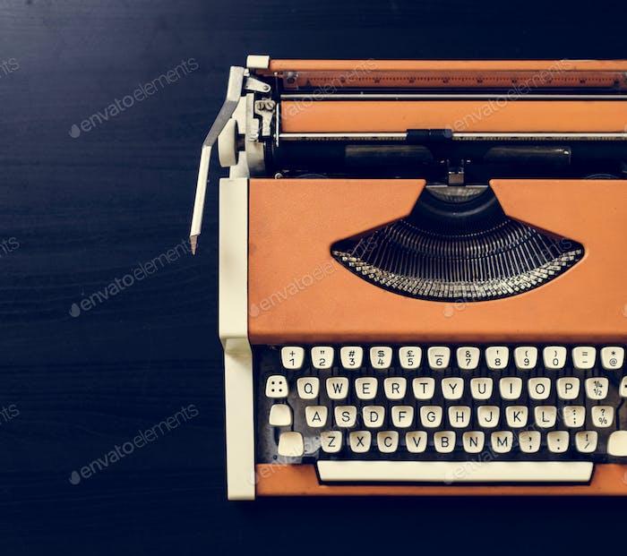 Retro orange typewriter