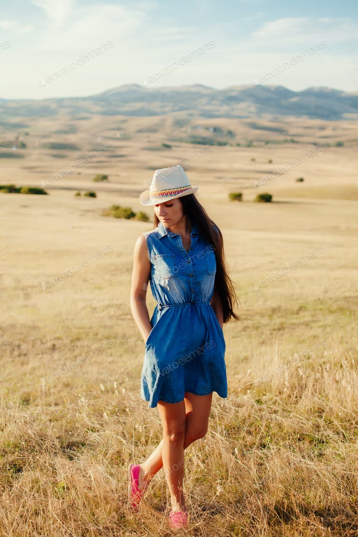beautiful woman relax at countryside