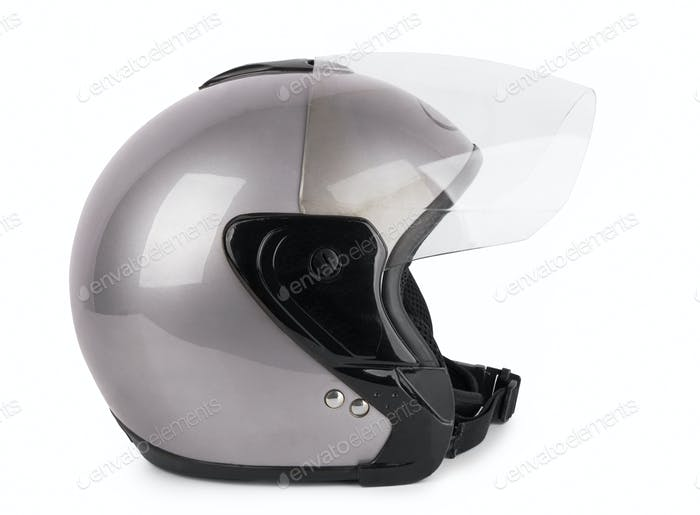 Gray motorcycle helmet isolated on white background