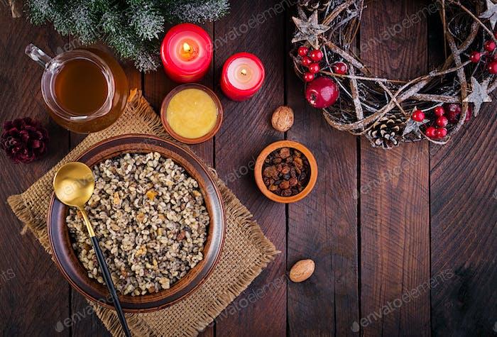 Weihnachtskutia. Ukrainische Küche. Draufsicht, Overhead