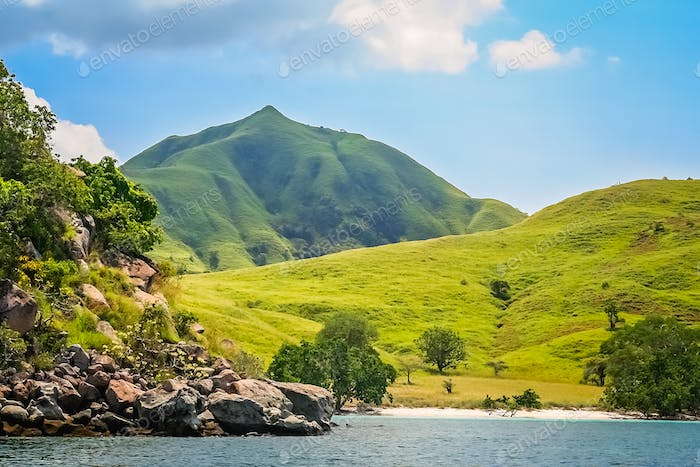 Rugged coastline of Komodo