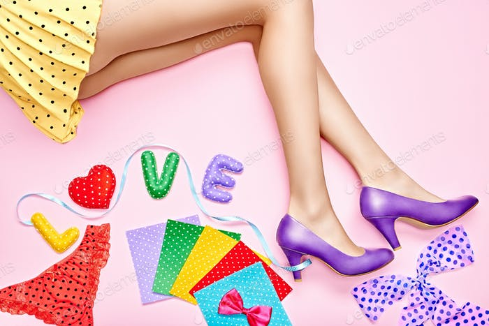 Fashion funny vivid set Word Love, woman sexy legs