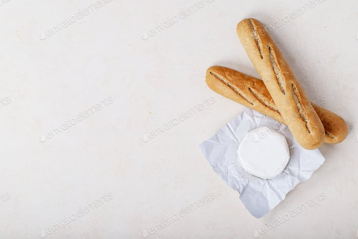Cheese camembert and french baguette