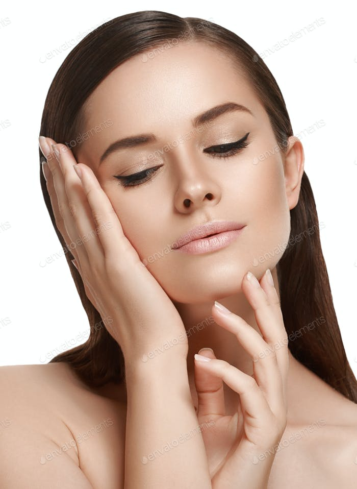 Woman  skin healthy soft and beauty touching face. Skincare concept.