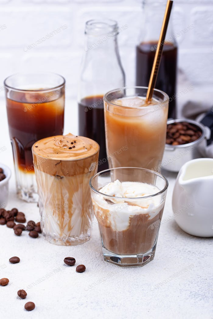 Different trendy cold coffee drink