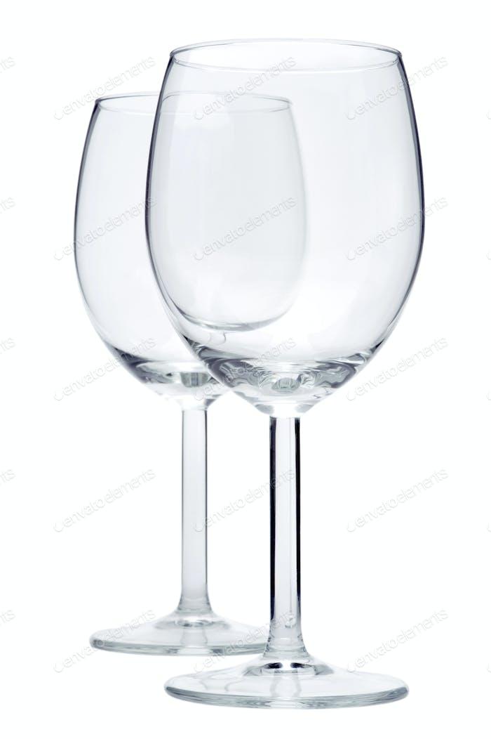 Two empty wineglasses