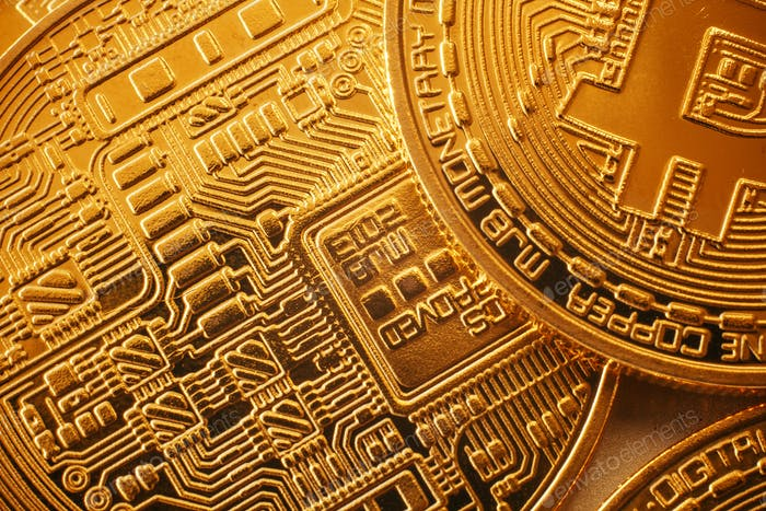 Shiny golden bitcoins pattern, gold money wallpaper