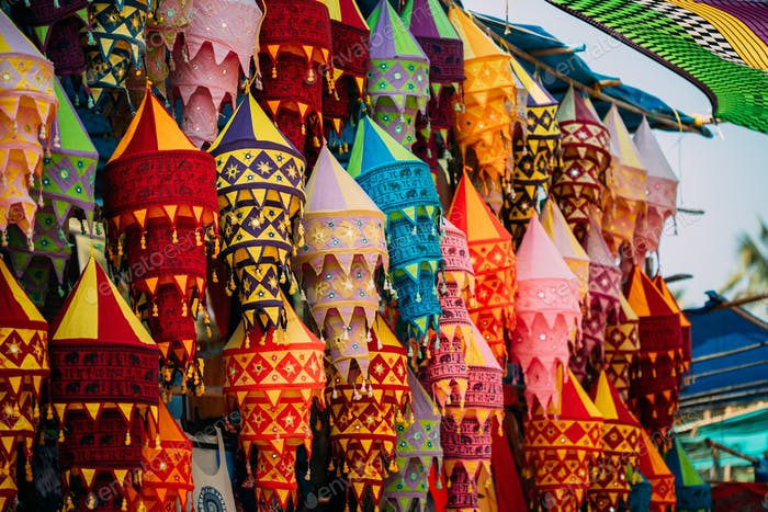 India. Market With Many Traditional Colorful Handmade Indian Fabric Lanterns. Popular Souvenirs From