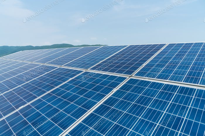 solar panels closeup for renewable energy on mountainous area