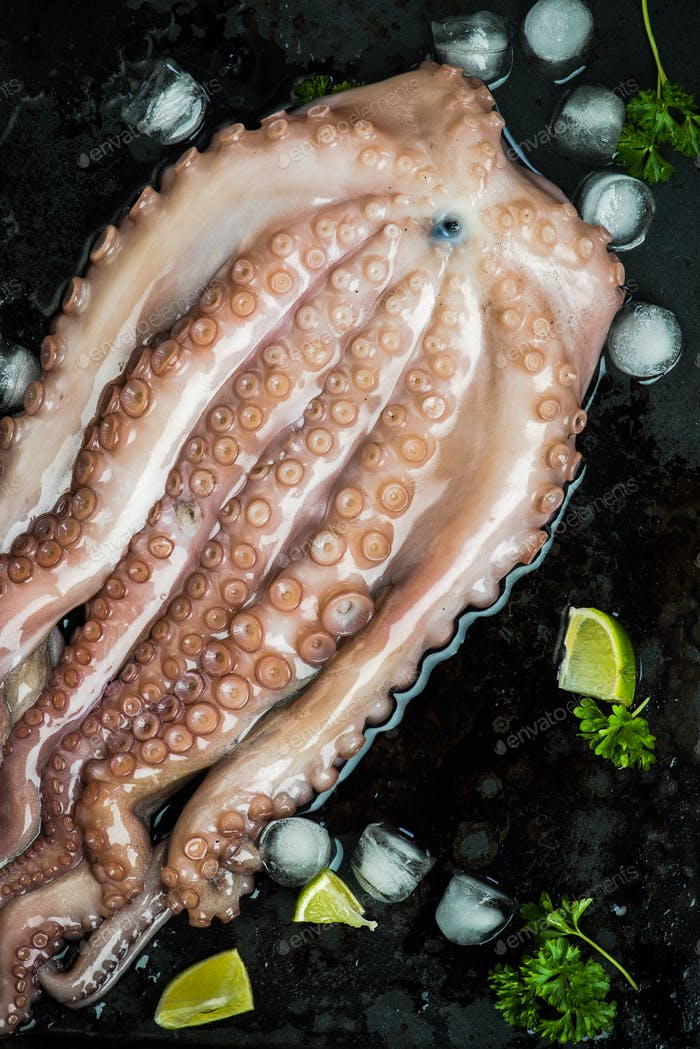 Whole seafood octopus with ice and lime