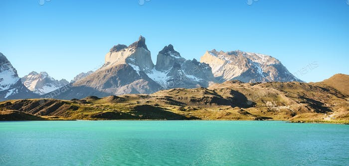 Pehoe Lake and Los Cuernos in the Torres del Paine National Park, Chile.