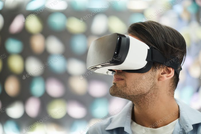 Young Man Wearing VR