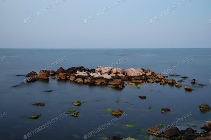 Evening calm sea. Long exposure