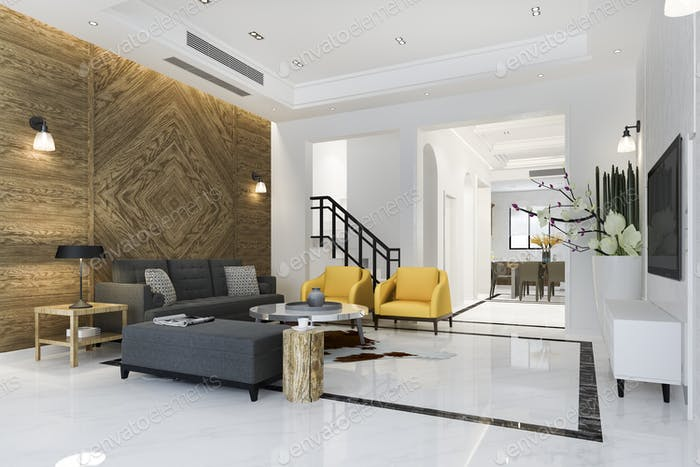 3d rendering modern dining room and living room near kitchen with luxury classic decor