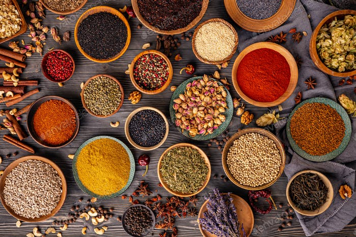 Variety spices and herbs