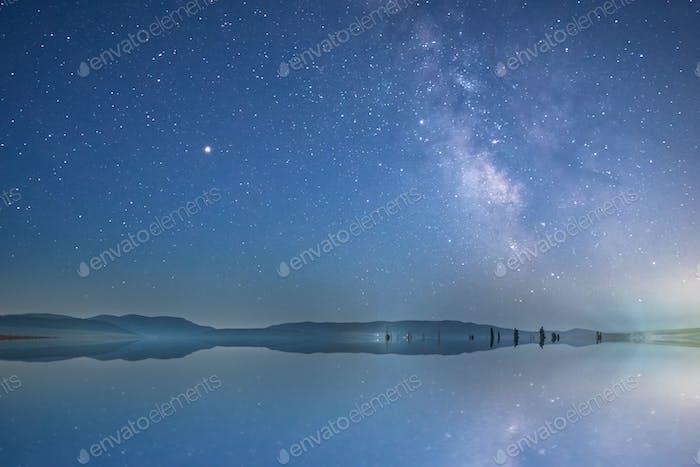 Night sky and pond