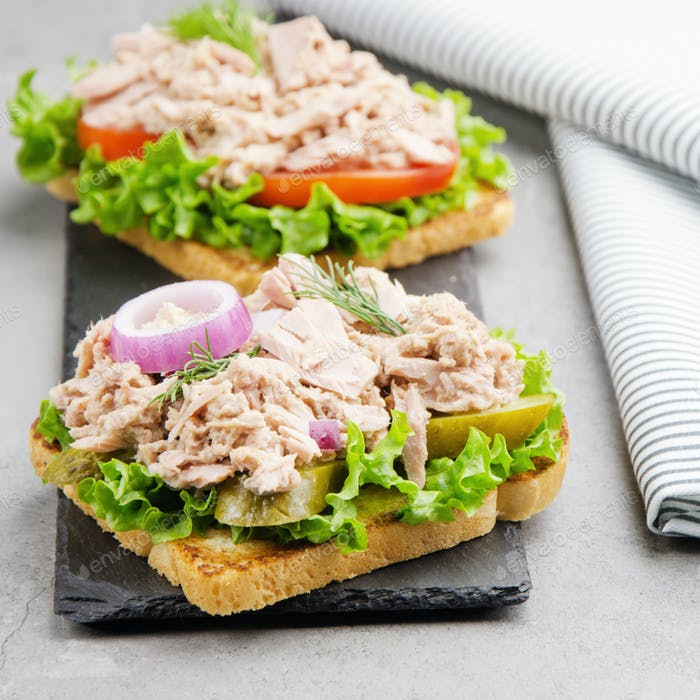 Thunfisch-Sandwiches mit Salat Tomaten Gurken und Zwiebeln auf Schieferplatte