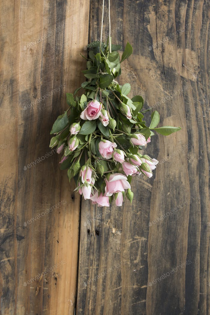 Bouquet of Pink Roses on a Rustic Background of a Board