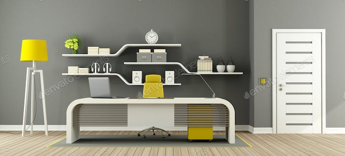 Gray ,white and yellow modern office