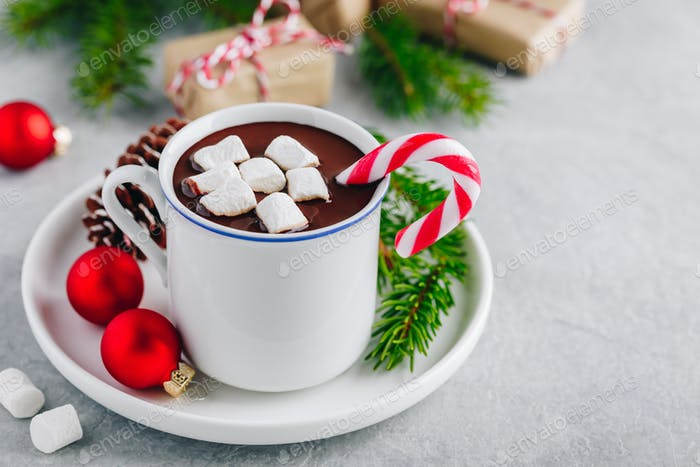 Festive Christmas Hot Chocolate with marshmallow and candy cane