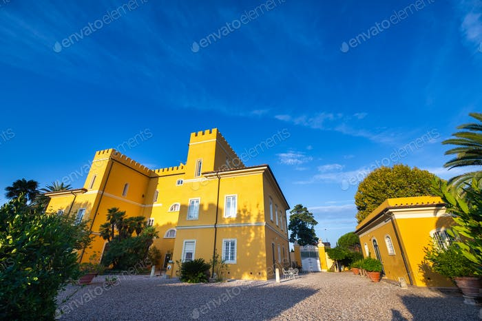 Old large yellow villa in the Tuscany region.Italy