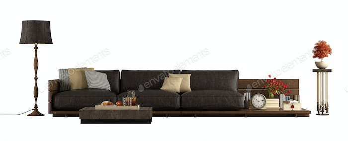 Wooden sofa with leather cushions isolated on white