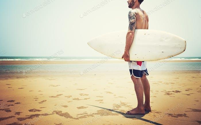 Surfboard Surfer Outdoor Sport Tropical Ocean Concept