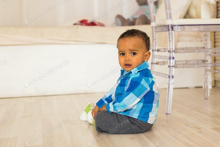 Happy Mixed Race Toddler Boy