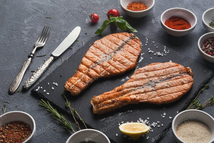 Salmon red fish juicy fillet grilled on barbecue